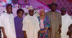 L-R: Osun State Governor, Ogbeni Rauf Aregbesola; a former Vice President of Zimbabwe, Dr. Joice Mujuru; Oyo State Governor, Senator Abiola Ajimobi; his wife, Florence; Bayelsa State Governor, Mr. Seriake Dickson; and Lagos State Governor, Mr. Akinwumi Ambode, during the opening ceremony of OYSOWA, at the International Conference Centre, University of Ibadan, Ibadan... on Wednesday…