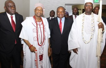 R-L: Aare Onakakanfo, Dr Gani Adams, Dr Orji Uzor Kalu, the Chairman of The Sun Newspapers and others at the event...