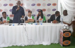 NFF's Amaju Pinnick addressing others at the event...