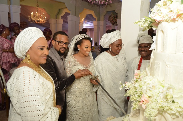 L-R: Groom's mother, Chief Florence Ajimobi; Groom, Idris; Bride, Fateemah; Wife of the President, Mrs. Aisha Buhari; and Groom's father, Governor Abiola Ajimobi of Oyo State…