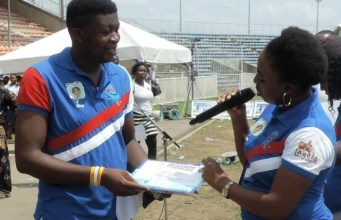 Mrs Bisi Ashimolowo, right, with Tunde Olawuwo...coordinators of the event...ready as usual...