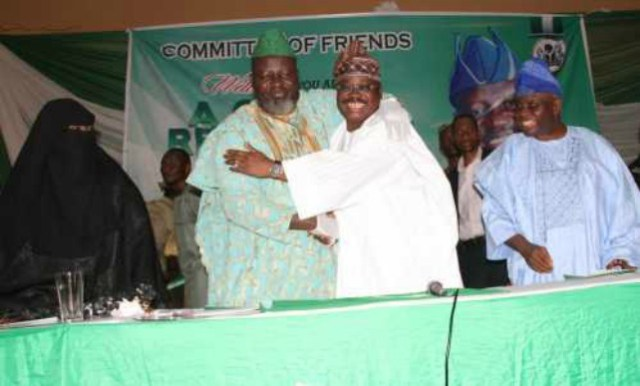 Barrister Adebayo Shittu and Governor Abiola Ajimobi...embracing one another...any lost love at any time?