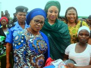 From the left…Wife of Governor of Osun, Mrs Sherifat Aregbesola, Wife of Borno State Deputy Governor, Hajia Hansatu Zana who represented Hajia Aisha, wife of President Buhari, North West Zonal Coordinator for Hajia Aisha Foundation, Mrs. Bamigbose and a beneficiary, during the distribution of Mama kits to beneficiaries, at the Flagg off ceremony held at Isale Agbara, Osogbo,State of Osun on Tuesday…