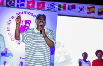 Oyo's Governor Abiola Ajimobi...addressing football lovers at the viewing centre...