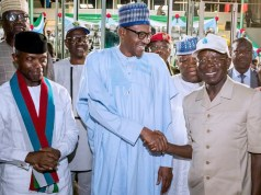 L-R: Professor Yemi Osinbajo, President Muhammadu Buhari and Comrade Adams Oshiomhole, the new National Chairman for APC...