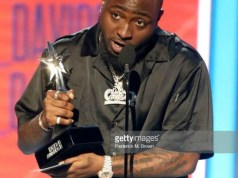 Davido...receiving his award...