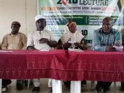 L-R: Comrade Faniran, Oyo NUJ Boss, Niyi Alebiosu, SWAN boss, Romoke Ayinde of Kayrom Lee and Rashidi Balogun, the GM of 3SC at the event...
