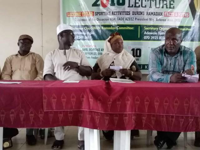 L-R: Comrade Faniran, Oyo NUJ Boss, Niyi Alebiosu, SWAN boss, Romoke Ayinde of Kayrom Lee and Rashidi Balogun, the GM of 3SC at the event...