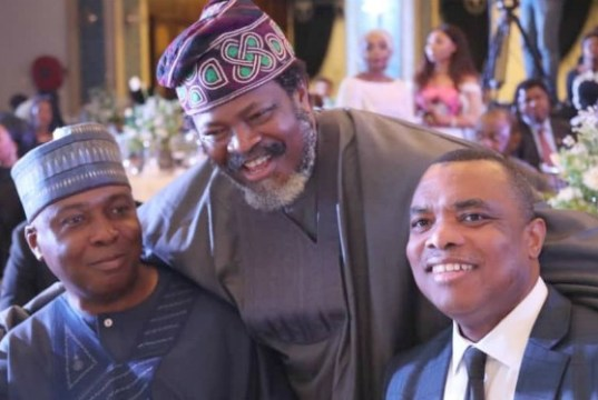 President of the Senate, Dr. Abubakar Bukola Saraki with the Publisher of Thisday, Chief Nduka Obiagbena and a member of the International Press Institute (IPI) at the event…
