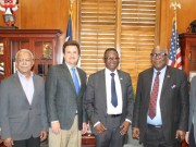 President, Texas Tech University, Prof. Lawrence Schovance (second left), Tech U, Ibadan Vice Chancellor, Prof. Ayobami Salami (second right), Pro-Chancellor, Prof. Oye Ibidapo-Obe (right) and TTU Vice Provost for International Affairs, Prof. Sukant Misra after the signing ceremony at the Office of TTU President, Lubbock, Texas, United States Tuesday evening