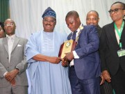 L-R: Vice President, Nigeria Computers Society, Prof. Charles Uwadia; Oyo State Governor and recipient of 'Digital Governor of the Year,' Senator Abiola Ajimobi, President, NCS, Prof. Adesola Aderounmu; and Provost, College of Sciences, University of Ibadan, Prof. Adenike Osofisan, during the 27th National Conference of the NCS, in Ibadan...