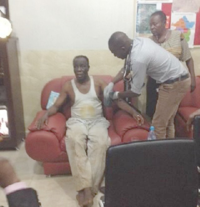 Mikel Obi's father after he was rescued by policemen in Enugu...