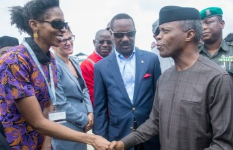 Ag. President Osinbajo, right, with MD LADOL Free zone, Dr. Amy Jadesimi…during the visit…