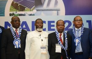 L-R; Managing Director,; Vice Chairman/CEO, Emerald Energy Resources, Jude Amaefule; outgoing Chairman, Nigeria Council of the Society of Petroleum Engineers, Chikezie Nwozu, after a panel Session at the SPE Annual Conference and Exhibition in Lagos …on Wednesday