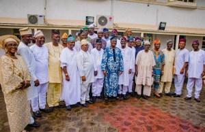 Governor Abiola Ajimobi and APC gubernatorial aspirants in Oyo State...on Saturday...