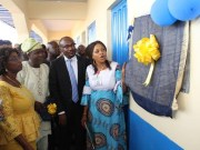 L-R:- Acting P S, Ministry of Education, Mrs. Ibironke Fatoki, Principal, Community Secondary School, Mr. Aderibigbe, Breweries Manager, Tayo Ogundina and the Representative of Oyo State Governor and Special Adviser to the Governor on Education- Dr Bisi Akin-Alabi as the plaque was being unveiled...