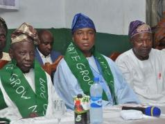 L-R: PDP chieftain, Saka Balogun, Senator Bukola Saraki and PDP Chairman, Kunmi Mustapha at the event