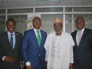 L-R: Group Managing Director/CEO, Odu'a Investment Company Limited, Mr Adewale Raji; Ag. Managing Director, Wema Bank Plc, Mr Ademola Adebise; Chairman, Odu'a Investment Company Limited, Engr Olusola Akinwumi, mnse and Executive Director, Wena Bank Plc, Mr Wale Akinteye at the Corporate Office of the company…