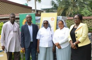 L-R: Social Performance Adviser, Shell Nigeria Exploration and Production Company (SNEPCo), Hope Nuka; SNEPCo Non-Operated Venture Manager, Segun Owolabi; the Principal, Pacelli School for the Blind and Partially Sighted Children, Sister Jane Onyeneri; Sister Eucharia Uwakwe; and SNEPCo's Communications Manager, Olusola Abulu, during the donation of furniture items to Pacelli School for the Blind and Partially Sighted Children in Lagos ...