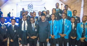 Vice President Yemi Osinbajo, with some students of the Grange School...during the event...