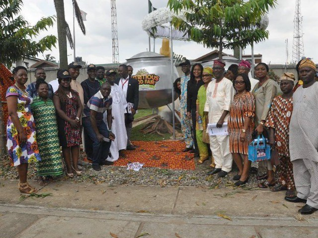 Development partners at the Unveiling of the Largest Traditional Pot at the Press Conference/Flag Off Ceremony for the 4th Nutritious Food Fair at the guest house, of the International Institute of Tropical Agriculture, Ikeja, Lagos…