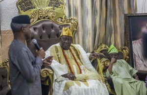 VP Osinbajo with VP Osinbajo, left, with the Olubadan of Ibadanland, Oba Saliu Adetunji and Gov. Oyo State, Sen. Abiola Ajimobi…