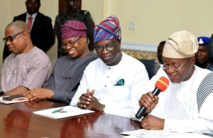 R-L: Governor of Osun State, Mr.Gboyega Isiaka Oyetola; his deputy, Mr. Benedict Gboyega Alabi; former Special Adviser, Ministry of commerce, Cooperative and Industry, Dr. Olalekan Yunusa and former Finance Commissioner, Mr.Bola Oyebanji, during the Governor's interactive session with Civil Servants…