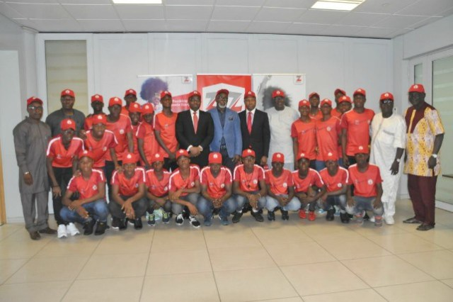 Amaju Pinnick and other NFF officials at the headquarters of Zenith Bank...