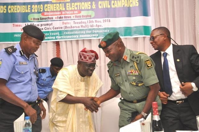 L-R: The representative of Oyo State Commissioner of Police, ACP Joseph Eribo, Resident Electoral Commissioner (REC), Barr Mutiu Agboke, Brig Gen Oluyinka Soyele and the representative of DSS, John Sokoya during the meeting in Ibadan…