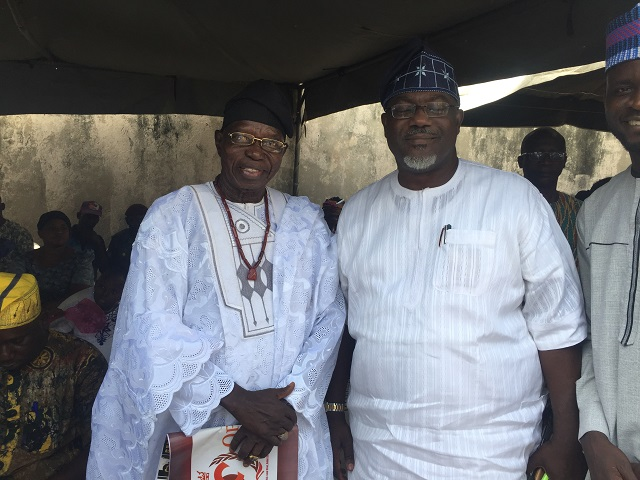 Chief Lere Paimo, left, with Mr Toye Arulogun, the Commissioner for Culture and Tourism in Oyo State...