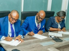 Managing Director FBNQuest Trustees, Mr. Adekunle Awojobi, Lead Partner Desarrollar Group, Mr. Ikemefuna Mordi and Managing Director/CE UTL Trust Management services Mrs Olufunke Aiyepola at the official all Parties signing ceremony between Desarrollar group, a leading Lifestyle and real Estate solutions company and its partners in Lagos recently