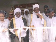 L-R: Wife of Oyo State Governor, Mrs. Florence Ajimobi; the Governor, Senator Abiola Ajimobi, Sultan of Sokoto, Alhaji Sa'ad Abubakar; and President, Muslim Ummah of Southwest, Dr. , during the inauguration of Ishaq Abiola Ajimobi Central Mosque in Oke Ado, Ibadan, built by the governor and his turbaning as Bashorun Musulumi of the state, as part of activities marking his 69th birthday, in Ibadan... on Sunday