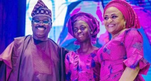 L-R: Oyo State Governor, Senator Abiola Ajimobi, the best performing female student from a public school, Miss Itunuoluwa Joel; and wife of the governor, Dr (Mrs) Florence Ajimobi, during the presentation…