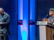 Dr Peter Obi, left, with Professor Yemi Osinbajo at the debate...