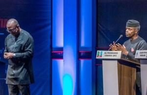 Dr Peter Obi, left, with Professor Yemi Osinbajo at the debate...