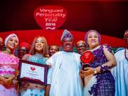 L-R: Daughter-in-law of Oyo State Governor, Mrs. Fatimah Ajimobi; Daughter of the governor, Mrs. Abimbola Obagun; state Governor, Senator Abiola Ajimobi; and his wife, Florence; and a former Governor of Ogun State, Aremo Olusegun Osoba…at the event…