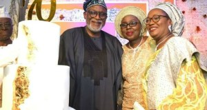 ...the Celebrant, Chief Mrs Are, right, with Governor Oluwarotimi Akeredolu and his wife, Betty...at the event...