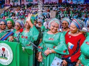 L-R: All Progressives Congress National Woman Leader, Hajia Salamatu Baiwa; Wife of Ogun State Governor, Mrs Olufunso Amosun; Wife of the Vice President, Mrs Dolapo Osinbajo; Wife of Oyo State Governor, Mrs Florence Ajimobi; Wife of Imo State Governor, Mrs Nkechi Okorocha; and Wife of Ekiti State Governor, Erelu Bisi Fayemi, at the APC Southwest Women and Youth rally to drum support for the reelection of President Muhammadu Buhari, held at the Adamasingba Sports Complex, Ibadan... on Saturday…