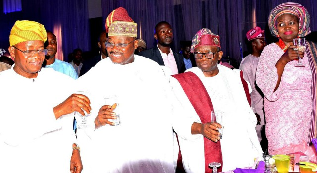 Governor of Osun State, Mr. Gboyega Oyetola (left), Minister of Health, Prof. Isaac Adewole (right), and Oyo State Governor, Senator Abiola Ajimobi, at the event held at Agbala Daniel Cathedral, Lagos-Ibadan Express Way…