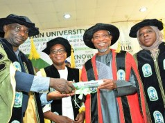 L-R: Vice-Chancellor, Fountain University, Prof. Amidu Olalekan Danni; Governor Gboyega Oyetola; former governor Rauf Aregbesola and the registrar and secretary to governing council of the Fountain University, Mrs Kikelomo Wasilah Sallee, during the event…