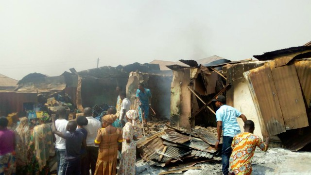 ...shops razed down at Idi Arere Junction in Ibadan...