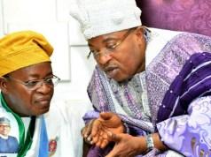 Governor Gboyega Oyetola of Osun State, left, with the Oluwo of Iwo, Oba AbdulRasheed Adewale Akanbi...during the Iwo leg of the town hall meeting...