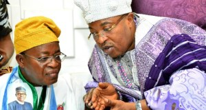 Governor Gboyega Oyetola of Osun State, left, with the Oluwo of Iwo, Oba AbdulRasheed Adewale Akanbi...during the Iwo leg of the town hall meeting...