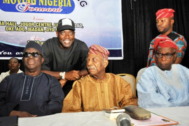 L-R: Chief Ayo Adebanjo, Engr Seyi Makinde, Afenifere Leader, Chief Reuben Fasoranti and Chief Olu Falae at the event held inside the prestigious Jogor Centre, Ibadan…
