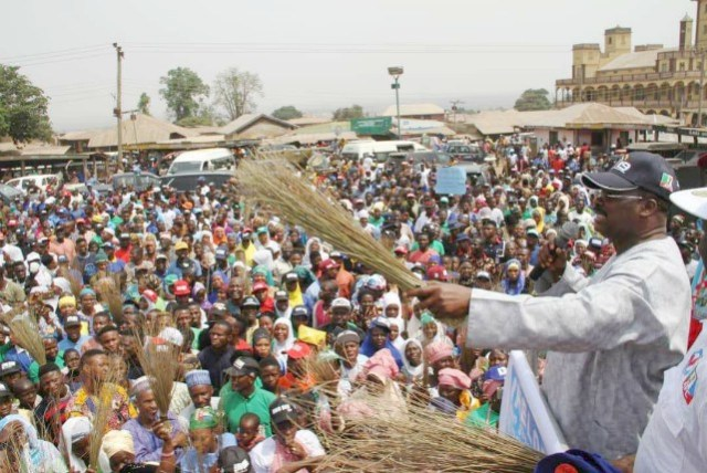 Oyo State Governor, Senator Abiola Ajimobi, addressing All Progressives Congress supporters during a campaign rally in Igboho, Oorelope Local Government Area of Oke Ogun zone of the state...on Friday
