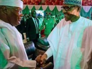 Alhaji Atiku Abubakar, left, with President Muhammadu Buhari...the two major contenders...