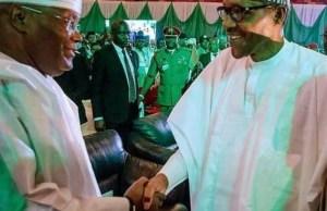 Alhaji Atiku Abubakar, left, with President Muhammadu Buhari...the two major contenders...