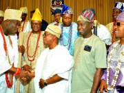 Osun's Gov Gboyega Oyetola (2nd left); his deputy, Mr. Benedict Alabi (2nd right); the Ooni of Ife, Oba Adeyeye Enitan Ogunwusi (left), the Oluwo of Iwo land, Oba Abdulrasheed Akanbi and others, during the visit…