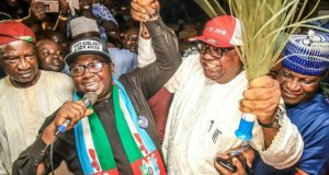 L-R: A prominent leader of Ogbomoso, Mr Dayo Lawal; Governorship candidate of the All Progressives Congress in Oyo State, Chief Adebayo Adelabu; a former Governor of the state, Chief Adebayo Alao-Akala; and another Ogbomoso leader, Senator Brimmo Yusuf, during the All Progressives Congress mega rally, in Ogbomoso...