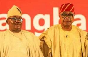 Chief Adebayo Adelabu, left, with Otunba Adebayo Alao-Akala...